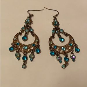 Old and turquoise rhinestone earrings